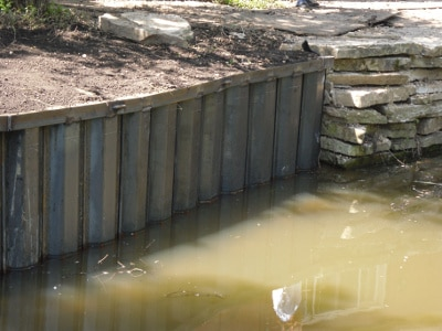 Photo of steel retaining walls installed by Seawalls Unlimited.